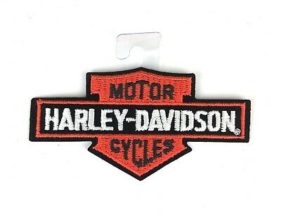 Harley Davidson Classic Bar and Shield Small Logo Iron Sew On Orange Patch New
