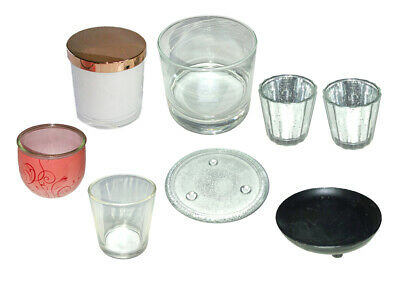 8 Candle holders. Empty dishes & jars. Craft Candle Making Project Glass & Metal