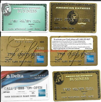"American Express/AMEX~Advertising Cards~""Your Buiness Name Here""~Delta,Gold~X 6"