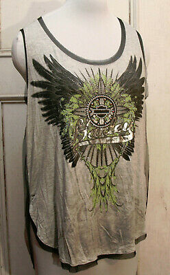 "Harley-Davidson Women/'s Tank top Gray Racerback /""winged wheel/"" Medium"