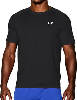 Under Armour Tech Mens Training Top Black Short Sleeve T-Shirt Gym Running M XL