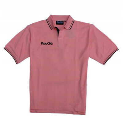 KooGa Rugby Classic Mens Polo Shirt Pink Short Sleeve Top Small
