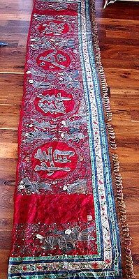 Museum Quality Antique 19Th Century Chinese Silk Embroidered Banner 15Ft X 31