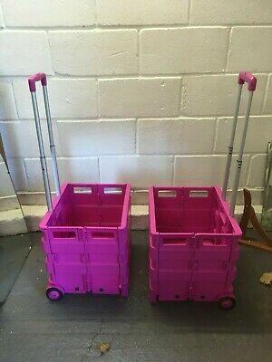 Pink Plastic Jumbo Trolley Folding Box on Wheels x 2