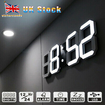 USB 3D Modern Digital LED Table Night Wall Clock 24/12 Hour Timer Alarm Clock