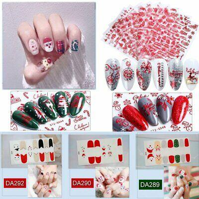 Hot Christmas Nail Polish Strips Color Stickers DIY Manicure Decoration Tips New