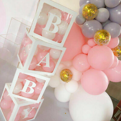 4Pcs Boy Girl Baby Shower Party Decorations Transparent Cardboard Box Xmas Gift