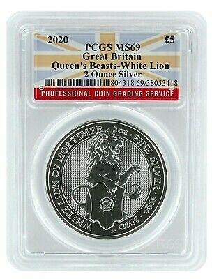 2020 Great Britain 2oz Silver Queens Beast White Lion PCGS MS69 - Flag Label