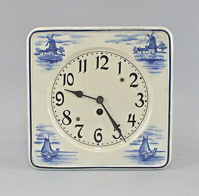8420019 Kitchen Clock Dutch Deco with Mill Blue um 1930