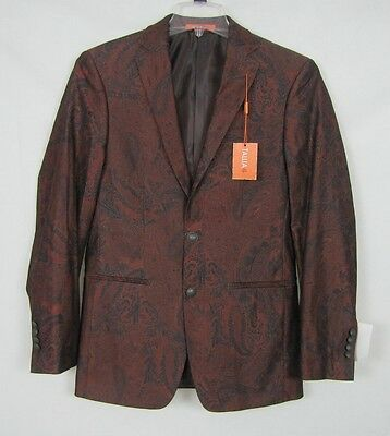 NEW Tallia Men's Sport Coat Blazer Slim Fit Brick Black Orange Paisley Size 36R
