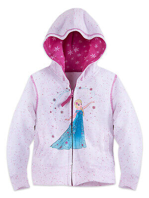 Disney Store Girls Elsa - Frozen - ZipUp Jacket with Hoodie, Pink/White, Size 2