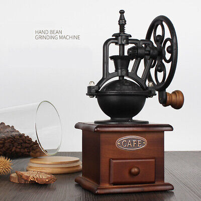 Manual Coffee Grinder Antique Cast Iron Hand Crank Mill Settings & Catch Drawer