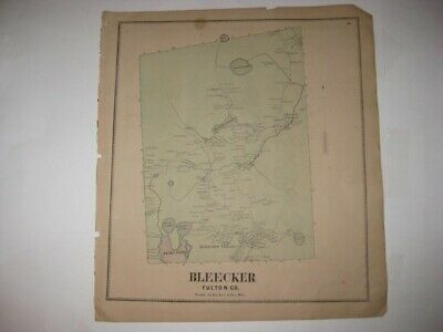 Antique 1868 Bleecker Fulton County New York Handcolored Map Detailed Rare Fine