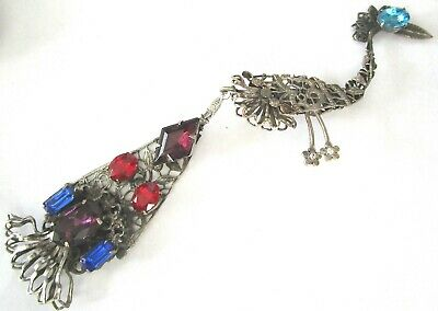 "Beautiful Over 6"" Silver Filigree Colorful Rhinestone Peacock Vintage Pin"