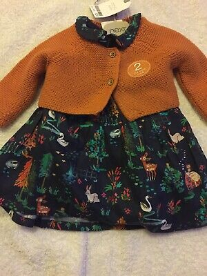NEXT Baby Girls Outfit Dress and Cardigan Up to 1mth New Baby BNWT