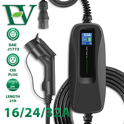 Electric Car EV Charging Cable Switchable LCD Screen 16/24/32A SAE CEE Charger