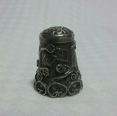 Beautiful, antique, ornate, sterling silver sewing thimble about 1940's