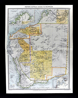 1907 Map Western Australia Goldfields Perth by London Geographical Institute