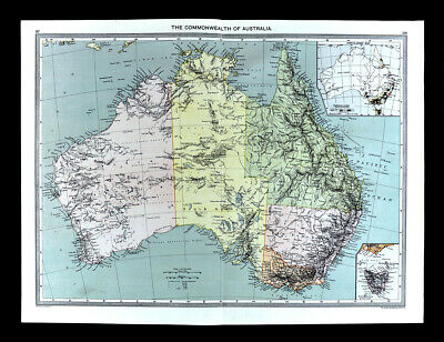 1907 Map Australia Sydney Melbourne Goldfields - London Geographical Institute