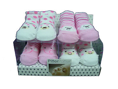 Baby Girls 4 Pack Of Socks Cute Different Designs PitterPatter