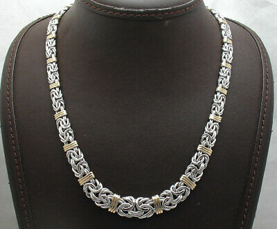 Graduated Byzantine Chain Necklace Real 14K Yellow Gold AND Real 925 Silver