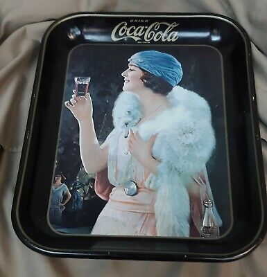 Coca-Cola 1973 Party Flapper Girl Blue Hat Metal Serving Tray Coke Vintage