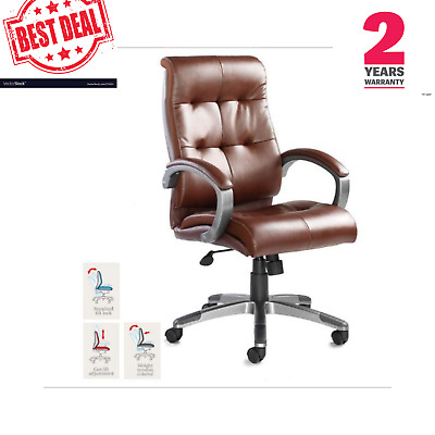 Catania Real Leather Faced Contemporary BUSINESS Executive Office Chair Brown Uk