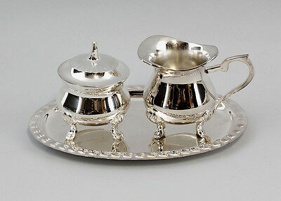 9977106 Small Silver-Plated Milk and Sugar Set with Tray