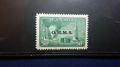 Canada stamps (ohms) overprint #011 50c oil wells, XF/S mnh CV 90+