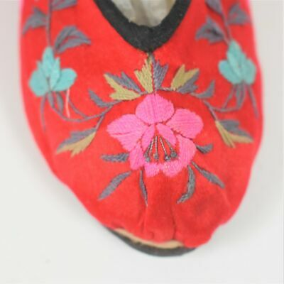 Antique Handmade Chinese Red Silk Embroidered Shoes Leather Soles Used
