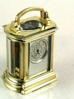 Exquisite antique French MINIATURE carriage clock. Overhauled/cleaned Oct.2019.
