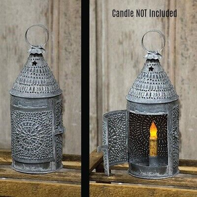 New Primitive Colonial Punched Tin ZINC TAPER CANDLE HOLDER LANTERN Hanging