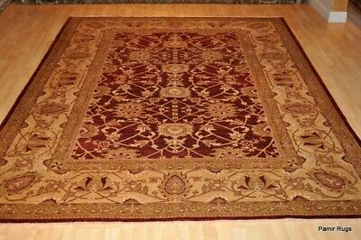9x12 ft. TOP QUALITY Beautiful cherry red and gold handmade vegetable dye
