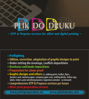 Double-sided business card, adv. version - DTP graphic design, print preparation