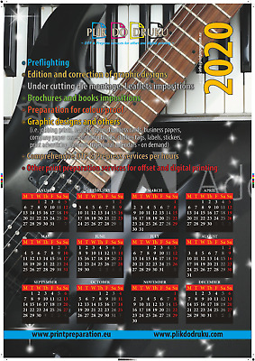 Wall calendar 830x680 mm size/other size, DTP graphic design, print preparation
