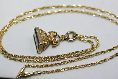 """Antique Victorian 9K Gold Bloodstone Pendant 10K Solid Yellow Gold Necklace 18"""""""