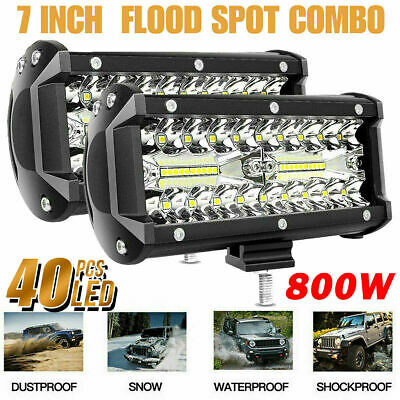 2x 400W 7''Car LED Work Light Bar Spot Flood Beams Combo For Off-road SUV Truck