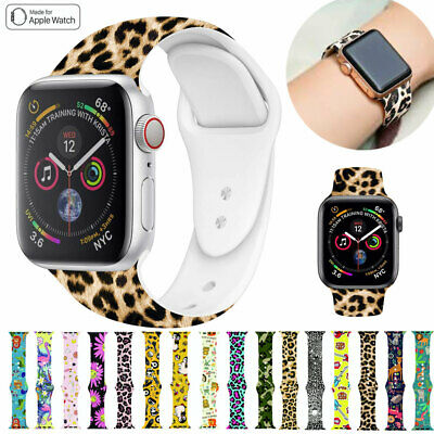For Apple Watch Band Series 5 4 3 2 1 Pattern Printed Silicone iWatch Strap Band