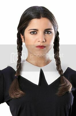 Adult THE ADDAMS FAMILY Black Wednesday Costume Wig