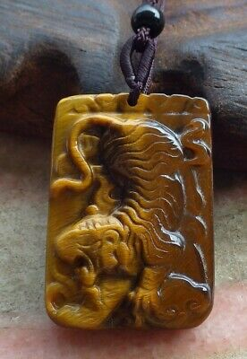 1 pcs CHINESE Tiger CAT Eye JADE PENDANT Tiger Rectangle 虎虎生威 322441