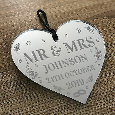 Personalised Mr & Mrs Gift Mirror Acrylic Engraved Heart Wedding Anniversary