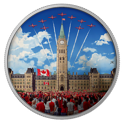 2 Parliament Hill Glow-in-the-dark Coins: 2017 Celebrating Canada & 2019 Lights