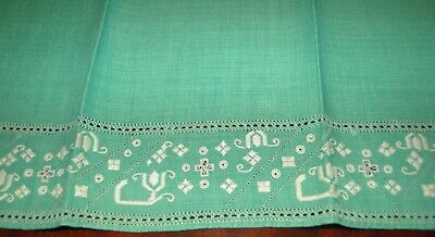 """Vintage 21"""" Green Linen Tea / Guest Towel ~ Embroidery & Drawnwork - Never Used"""