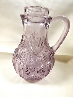 "Antique VTG clear Purple cut glass 5"" Oil Vinegar serving Cruet Decanter Pitcher"