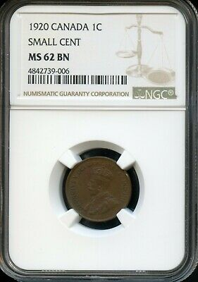 1920 Canada 1C Ngc Ms 62 Bn (Mint State 62) Small Cent Canadian 1C Coin Fc725