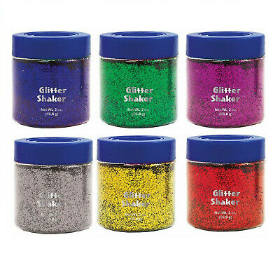 6-Pack Bright Colors. Primary Color Glitter 2 Ounce Shakers