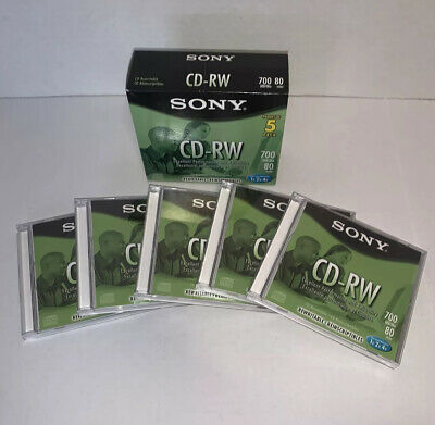 New (No seal) Sony CDRW 5 Pack 700Mb 80Min ReWritable Compact Disk w Jewel Cases