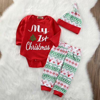 UK Newborn Baby Boys Girls My 1st Christmas Cotton Romper Tops Pants Hat Outfits