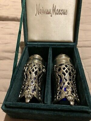 Stunning Neiman Marcus Vintage Silver Plate Salt And Pepper Shakers New In Box