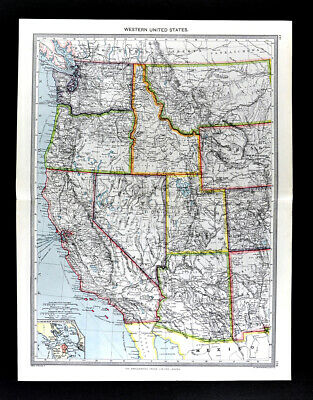 1907 Map Western United States California Utah Idaho Oregon Arizona Washington